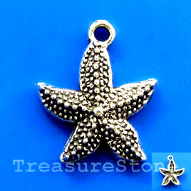 Pendant/charm, silver-finished, 19x20mm starfish. Pkg of 6.