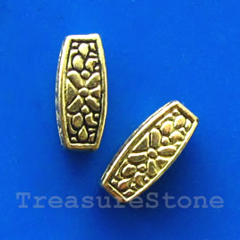 Bead, gold-finished, 12x5mm. Pkg of 15.