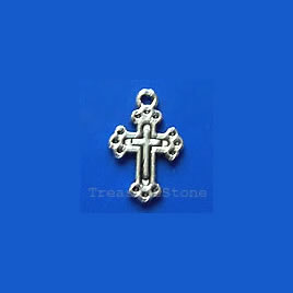 Pendant/charm, silver-finished,18x12mm cross. Pkg of 14.