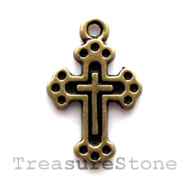 Pendant/charm, brass-finished, 12x16mm Cross. Pkg of 14.