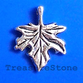 Pendant/charm, silver-finished,13x17 maple leaf. Pkg of 12