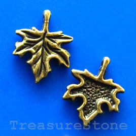 Charm, bronze-finished,13x17mm leaf. Nickel Free. Pkg of 12.