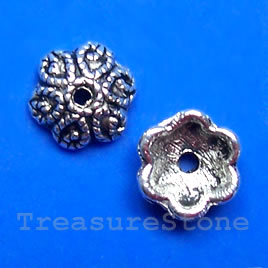Bead cap, antiqued silver-finished, 9x9x4mm. Pkg of 20