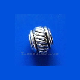 Bead, antiqued silver-finished, 6x5mm. Pkg of 25.
