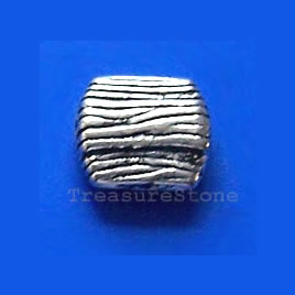 Bead, antiqued silver-finished, 9x3mm. Pkg of 15.