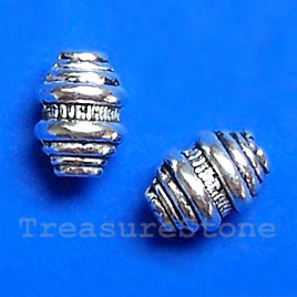 Bead, antiqued silver-finished, 6x8mm. Pkg of 20.