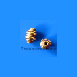 Bead, antiqued gold-finished, 6x9mm. Pkg of 15.