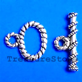 Clasp, toggle, antiqued silver-finished, 15x10mm. Pkg of 12.