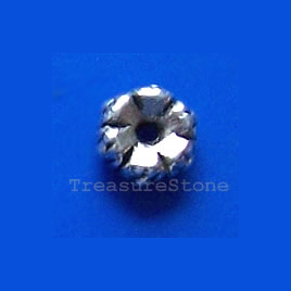 Bead, antiqued silver-finished, 5.5mm. Pkg of 25.