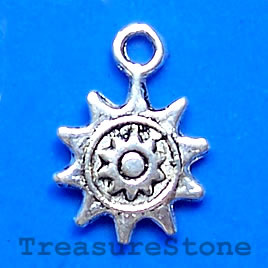 Charm, silver-finished, 12mm sun. Pkg of 15.
