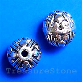 Bead, antiqued silver-finished, 9x10mm round. Pkg of 15.