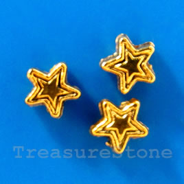 Bead, antiqued silver-finished, 4mm star. Pkg of 25.
