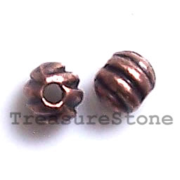 Bead, antiqued copper-finished, 4mm round. Pkg of 22.