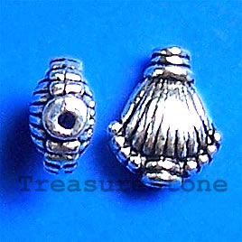 Bead, antiqued silver-finished, 9x10mm shell. Pkg of 18.
