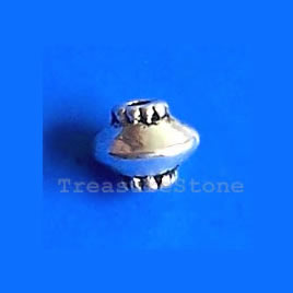 Bead, antiqued silver-finished, 5x6mm saucer. Pkg of 25.