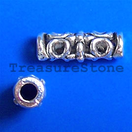 Bead, antiqued silver-finished, 6x18mm tube. Pkg of 10.