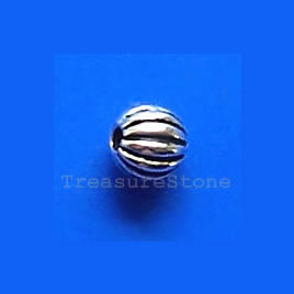 Bead, antiqued silver-finished, 3.5mm round. Pkg of 25.