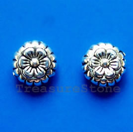 Bead, antiqued silver-finished, 7mm flower. Pkg of 20.