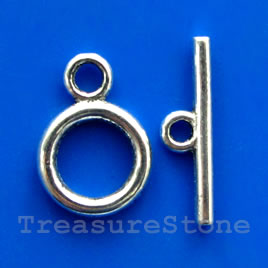 Clasp, toggle, antiqued silver-finished, 13/22mm. Pkg of 11.