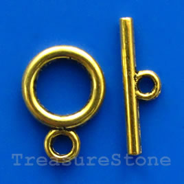 Clasp, toggle, antiqued gold-finished, 13/22mm. Pkg of 11.