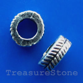 Bead, antiqued silver-finished, 7x2.5mm. Pkg of 20.