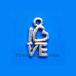 Charm/pendant, silver-plated, LOVE, 14mm. Pkg of 20.