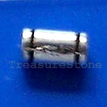 Bead, antiqued silver-finished, 3x6mm tube. Pkg of 25.