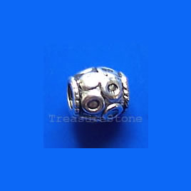 Bead, antiqued silver-finished, 6mm. Pkg of 20.