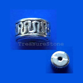 Bead, antiqued silver-finished, 7x4mm. Pkg of 15.