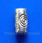 Bead, antiqued silver-finished, 2x5mm tube. Pkg of 25.