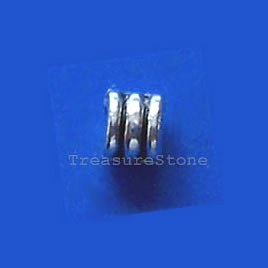 Bead, antiqued silver-finished, 4x3mm tube. Pkg of 25.