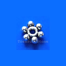 Bead, antiqued silver-finished, 7mm beaded rondelle. Pkg of 20.