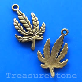 Pendant/charm, brass-finished, 18x25mm leaf. Pkg of 6.