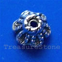 Bead cap, antiqued silver-finished, 7mm. Pkg of 24