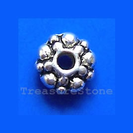 Bead, silver-finished, 6x2mm double-sided rondelle. Pkg of 25.