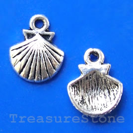 Pendant/charm, silver-finished,12x15mm Shell. Pkg of 20.