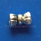 Bead, antiqued silver-finished, 3x5mm bow tie. Pkg of 25.