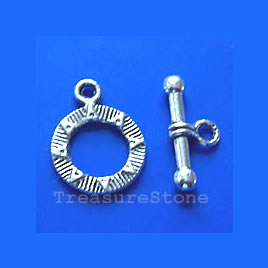 Clasp,toggle, antiqued silver-finished,15mm. Pkg of 12.