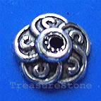 Bead cap, antiqued silver-finished, 8mm. Pkg of 20