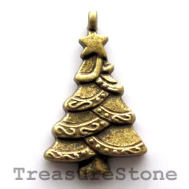 Pendant/charm, brass-finished,18x25mm christmas tree. Pkg of 8.