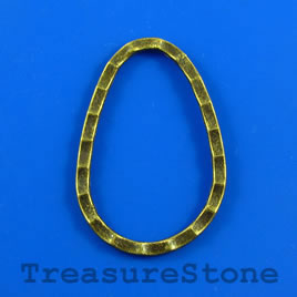 Bead/link, brass colored, 26x40mm hammered teardrop. Pkg of 2.