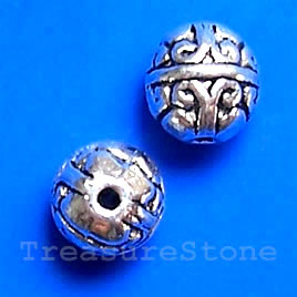 Bead, antiqued silver-finished, 7mm round. Pkg of 15.