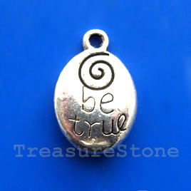 "Pendant/charm, 14x18mm ""Be True"". Pkg of 6."