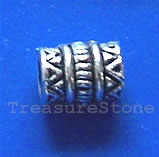 Bead, antiqued silver-finished, large hole, 5x8mm tube. 20pcs