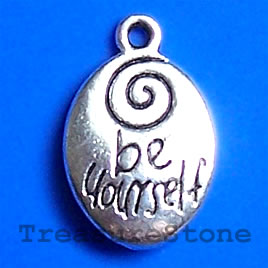 Pendant/charm, 13x17mm be yourself. Pkg of 6.