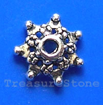 Bead cap, antiqued silver-finished, 9mm. Pkg of 20