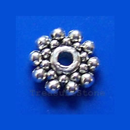 Bead, silver-finished, 8mm double-sided rondelle. Pkg of 20