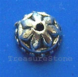 Bead cap, antiqued silver-finished, 8x5mm. pkg of 20
