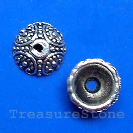 Bead cap, antiqued silver-finished, 10x4mm. Pkg of 20