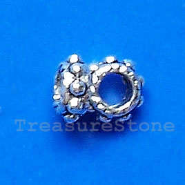 Bead, antiqued silver-finished, 5x2mm. Pkg of 25.